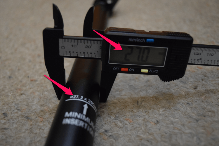 Measuring seat post with calipers